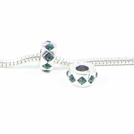 3 Beads - Green Diamond Rhinestone Silver European Bead Charm
