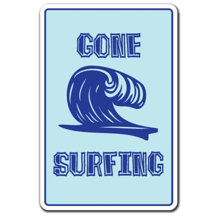 Surfing Decor Surf Decor - GONE SURFING -Decal Decal beach decor surfboard boogie board | Indoor/Outdoor | 5