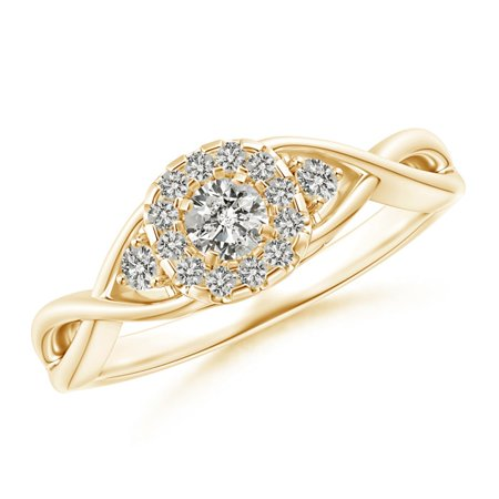 April Birthstone Ring - Pave-Set Round Halo Diamond Infinity Promise Ring in 14K Yellow Gold (3.5mm Diamond) - SR1582D-YG-KI3-3.5-4