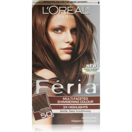 L'Oreal Paris Feria Multi-Faceted Shimmering Colour, Medium Brown [50] 1 (Brown Skimmer)