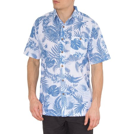 Mens Hawaiian Blue Palms Shirt Short Sleeve Button Up Down Casual Shirts 2XL](Hawaiian Themed Clothes)