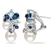 Miabella 3 CT TGW London and Sky Blue Topaz, Sapphire and White Cultured Freshwater Pearl Cluster Earrings in Sterling Silver