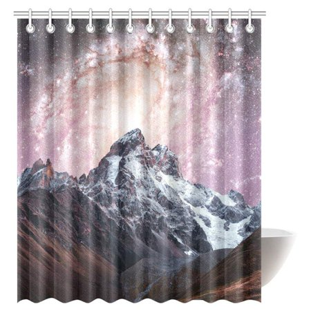 GCKG Snow-capped Peaks Shower Curtain, Fantastic Starry Sky Mountains Fabric Bathroom Shower Curtain 66x72 Inches - image 3 de 3