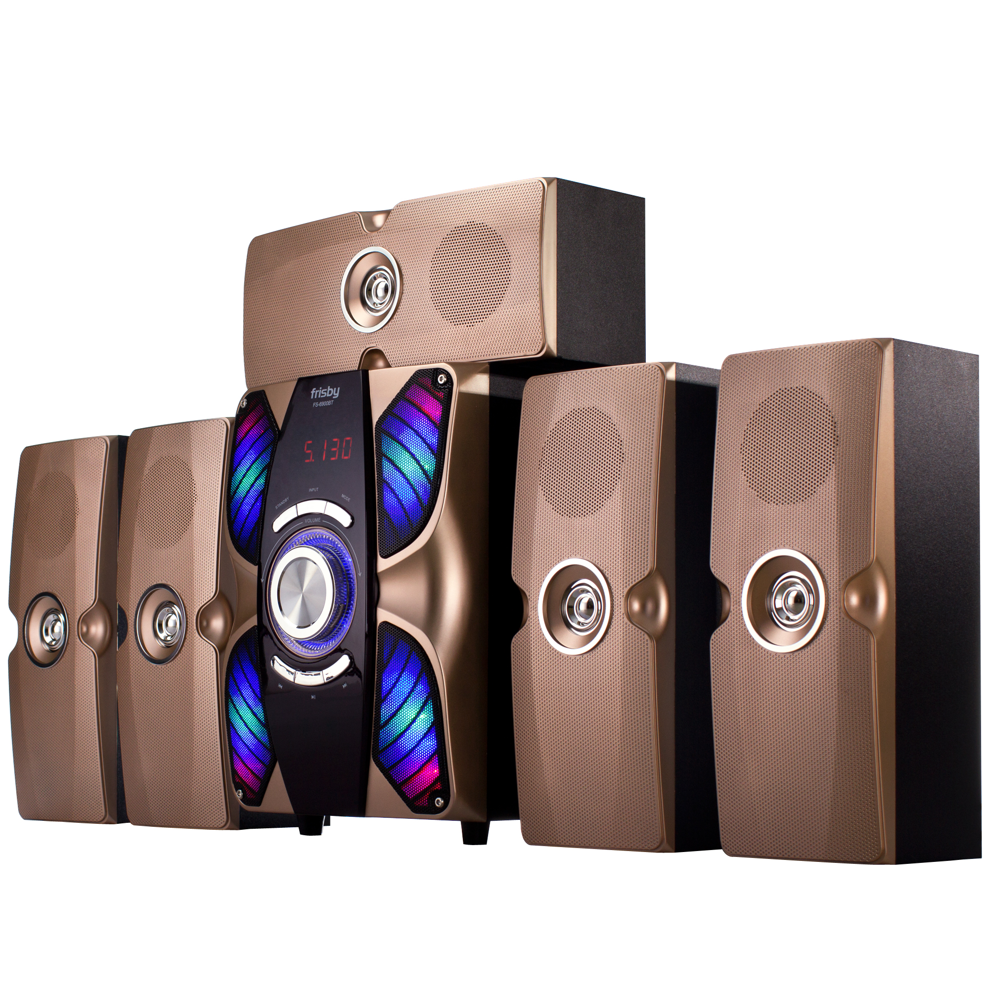 Frisby FS-6900BT 5.1 Surround Sound Multimedia Home Theater Speaker System with Flashing LED Lights Bluetooth USB/SD Slots & Remote Control