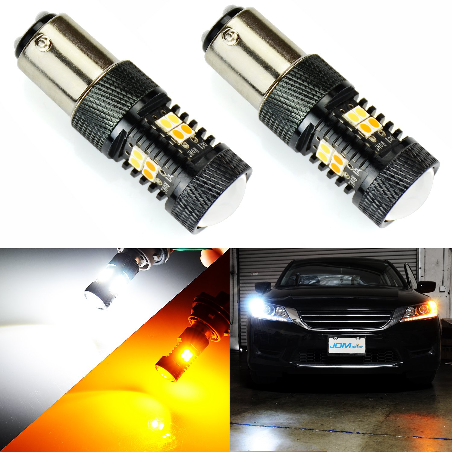 JDM ASTAR Extremely Bright 3030 Chipsets White/Yellow 1157 Switchback LED Bulbs with Projector For Turn Signal Lights