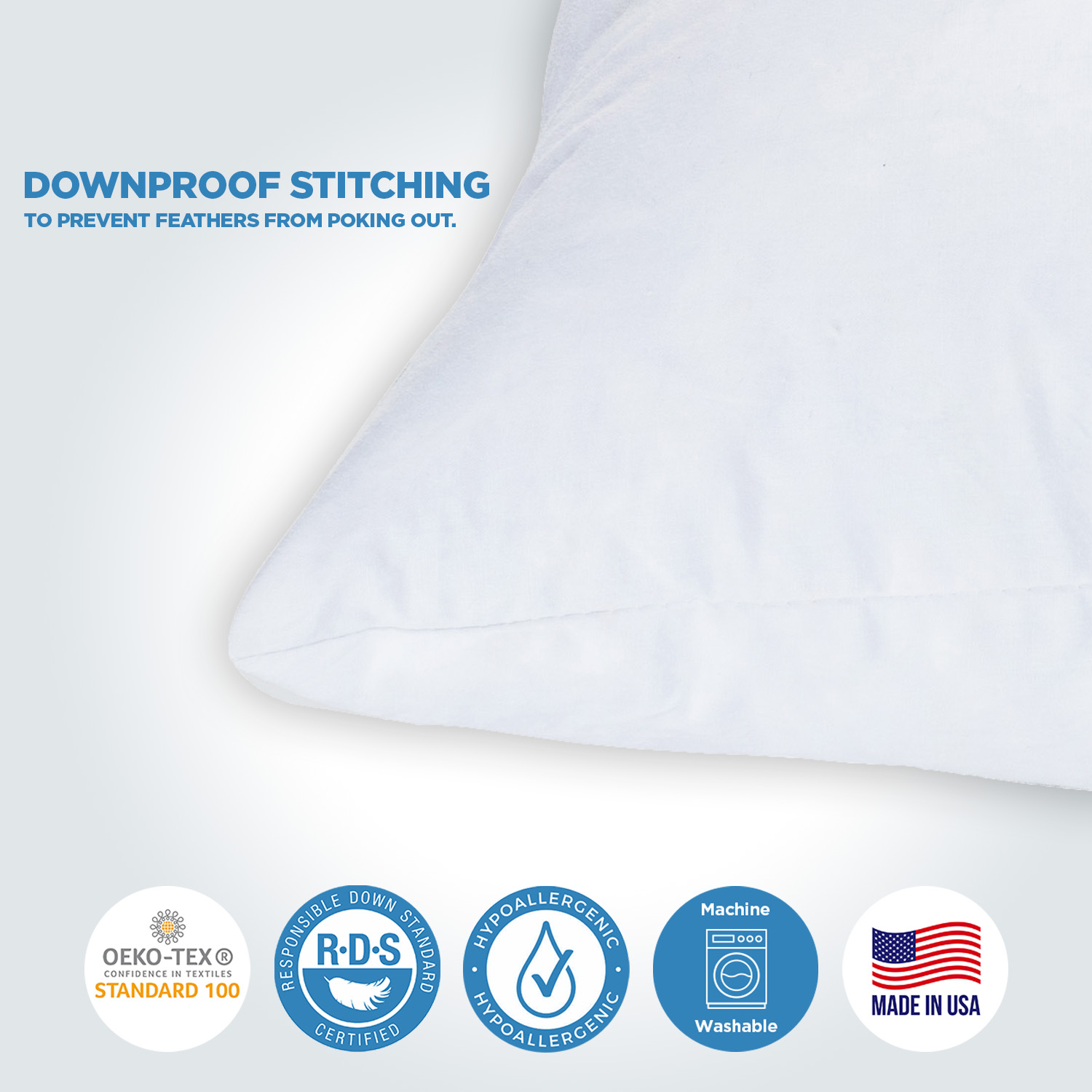 Made in USA CDR59516X26 Sham Stuffer ComfyDown 95/% Feather 5/% Down 16 X 26 Rectangle Decorative Pillow Insert