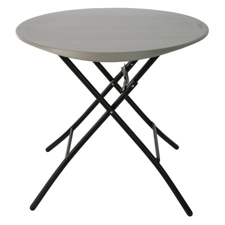 Folding Round Table Top.Lifetime 33 Round Folding Table Gray Putty 80230