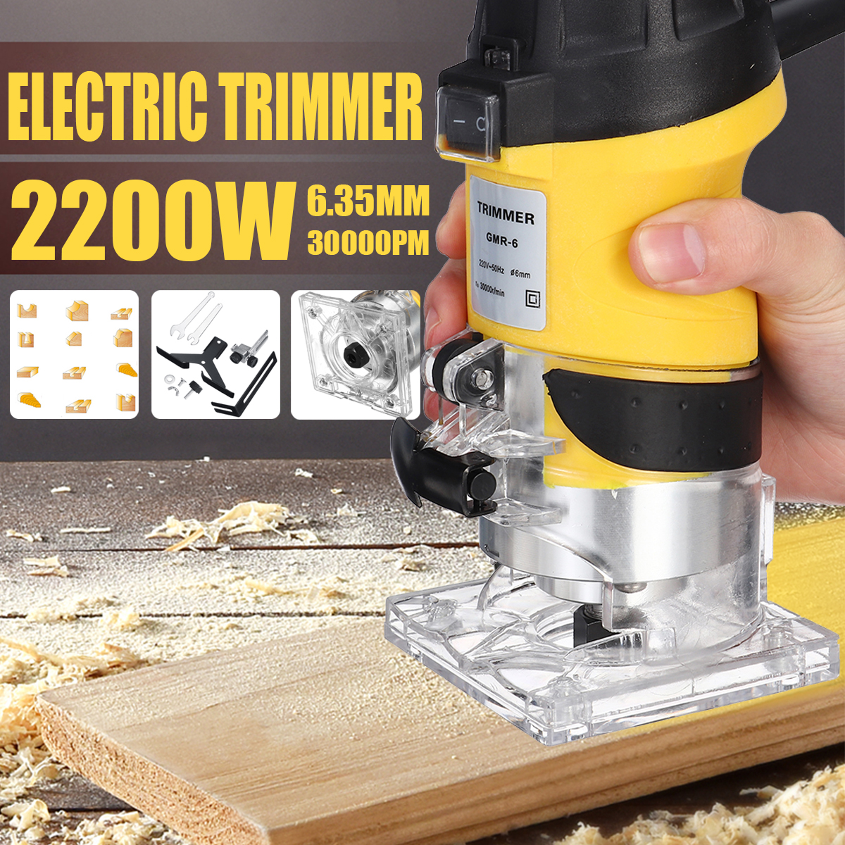 2200W Electric Hand Trimmer Palm Router Laminate Wood Laminator Joiner Cutter ❥