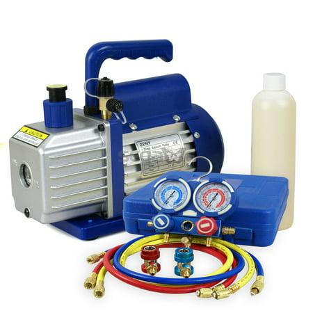 Gizmo Supply Combo A/C Manifold Gauge Set R134A R410a R22 With 3,5 CFM 1/4HP Air Vacuum Pump