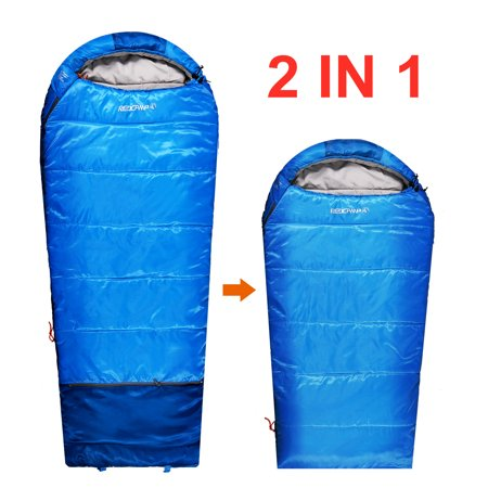 pretty nice a15eb 87356 REDCAMP Kids Mummy Sleeping Bag for Camping Zipped Small, 30 Degree All  Season Cold Weather Fit Boys, Girls & Teens Blue/Pink