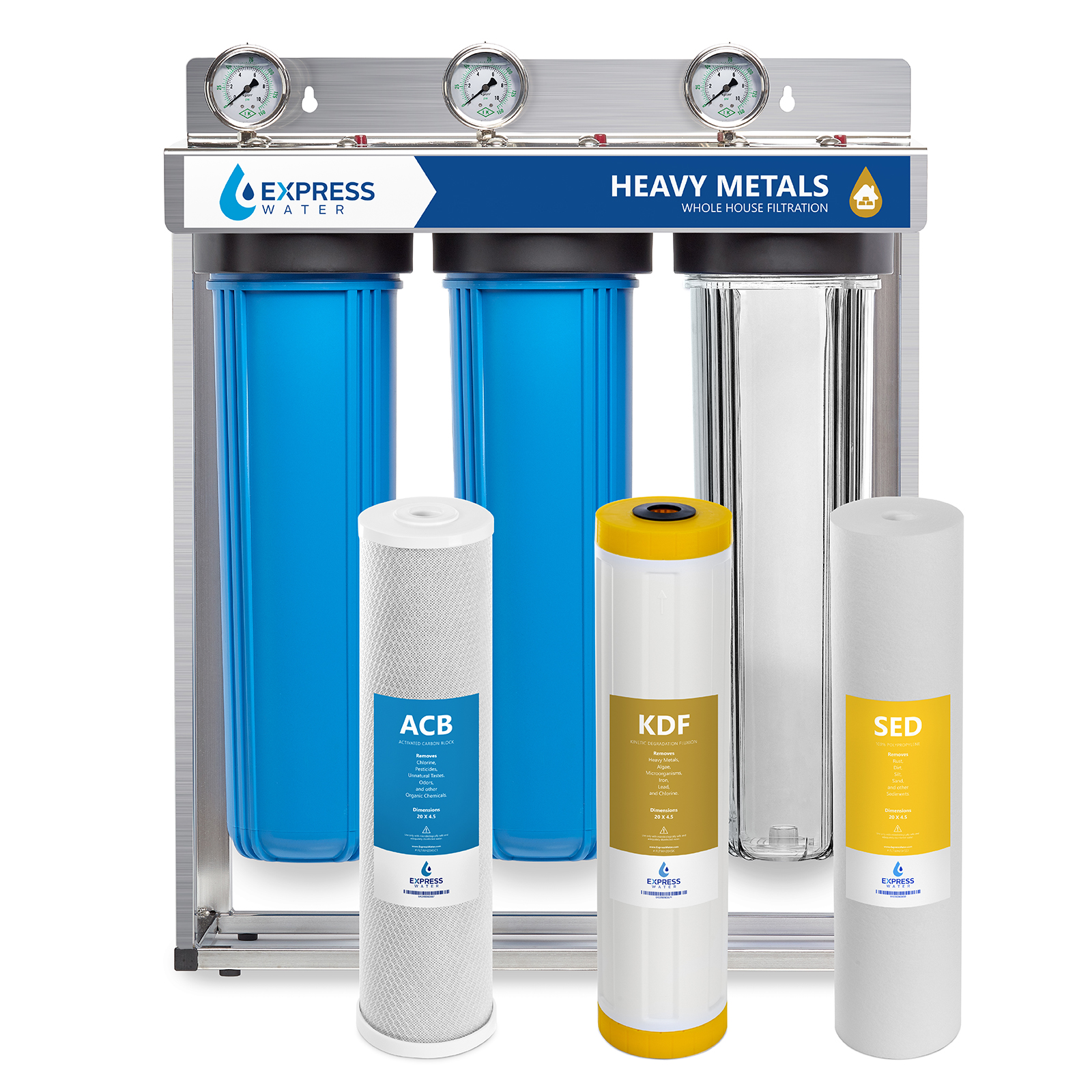 """Express Water Heavy Metal Whole House Water Filter – 3 Stage Home Water Filtration System – Sediment, KDF, Carbon Filters – includes Pressure Gauges, Easy Release, and 1"""" Inch Connections"""