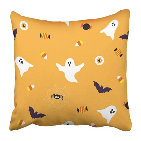 USART Black Cute Halloween Spooky Ghost with Candy on Orange Graphic Spider Bat Cartoon Pillow Case Cushion Cover 20x20 inch](Cute Halloween Ghost Sayings)