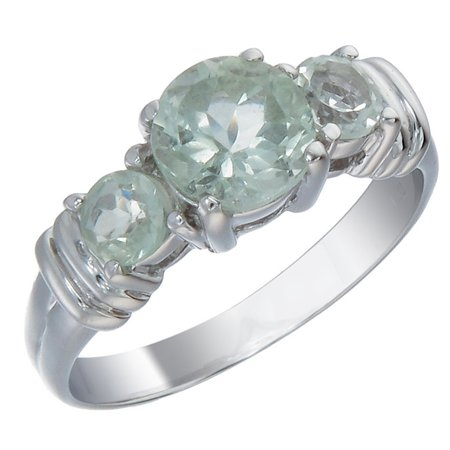 Sterling Silver Green Amethyst 3 Stone Ring (1.70 cttw)