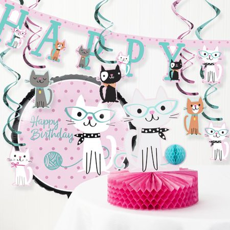 The Party Aisle 8 Piece Purr-fect Cat Birthday Party Decoration - Black Cat Decorations