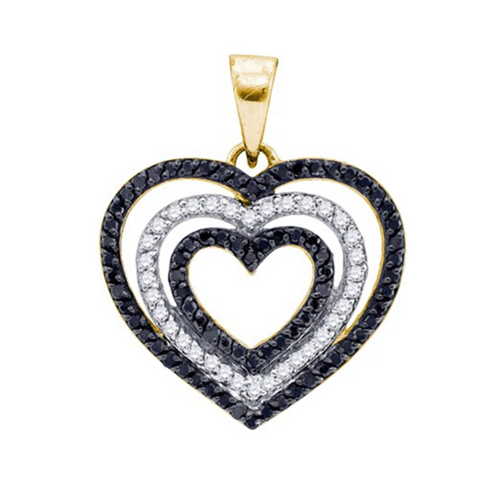 Ladies Yellow Gold Black and White Genuine Diamond Heart Pendant 0.62CT