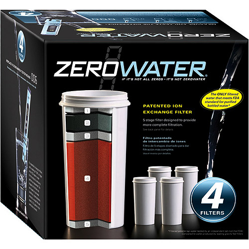 ZeroWater ZR-006 4-Pack of 5 stage Ion Exchange Replacement Filters. Fits all ZeroWater Pitchers and Dispensers