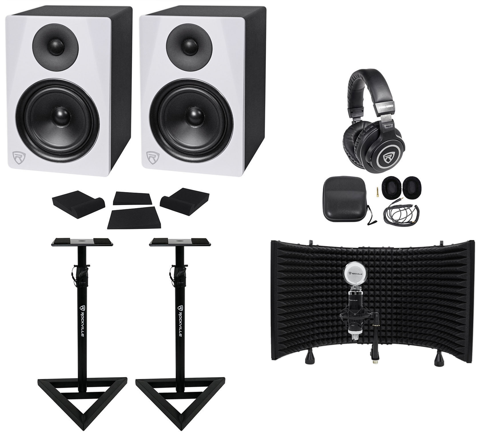 "2) Rockville DPM6W 6.5"" 420w Active Studio Monitors+Stands+Headphones+Mic+Shield by ROCKVILLE"