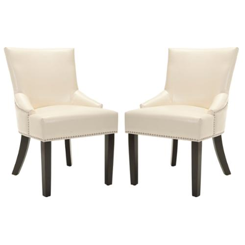 Safavieh Loire Cream Leather Nailhead Dining Chairs Set of 2