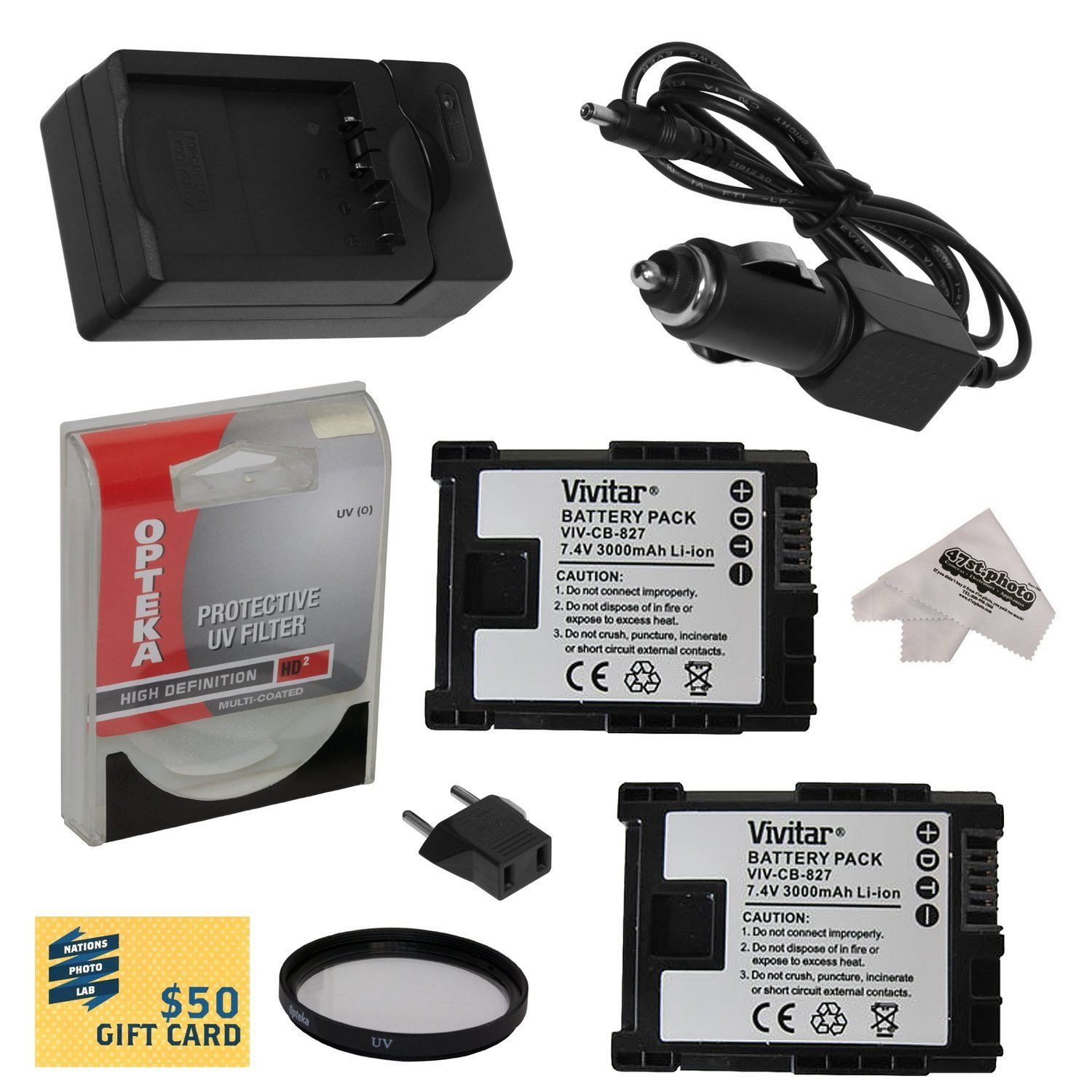 Opteka 2 BP-827 Replacement Battery + Charger for Canon H...