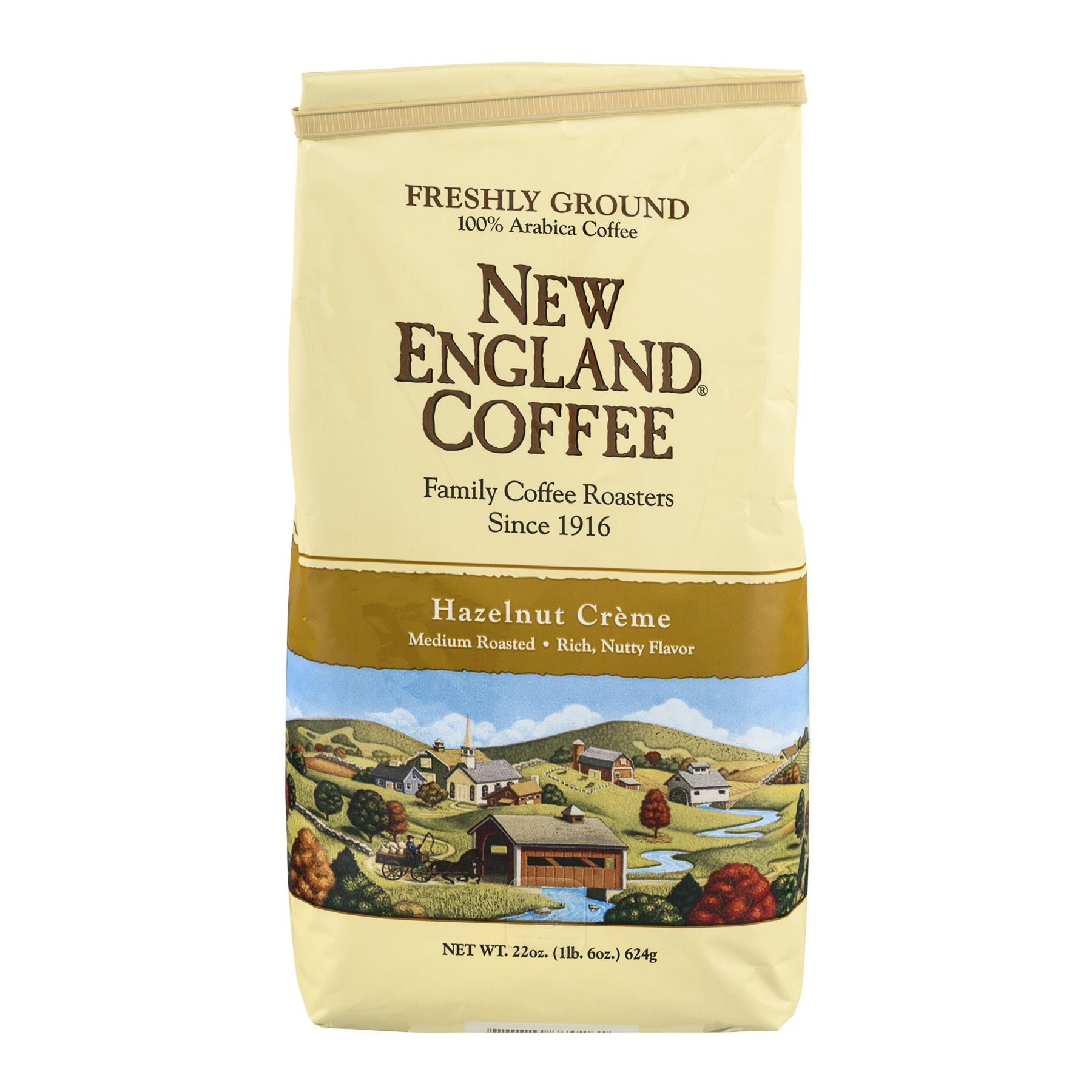 New England Coffee Hazelnut Crème Medium Roast Freshly Ground, 22.0 OZ