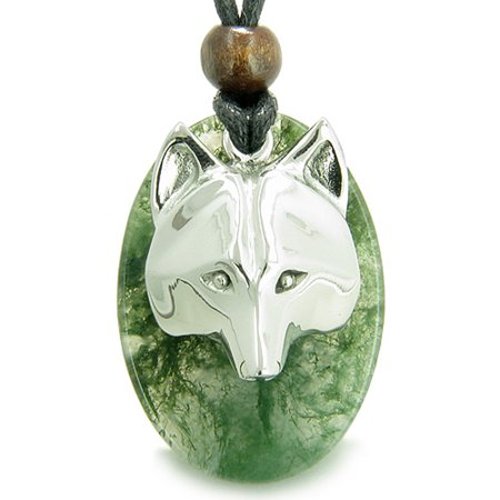 Amulet Protection and Wise Wolf Mask Good Luck Powers Moss Agate Charm Pendant Necklace