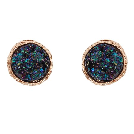 d8aa76c0bb5a3 Simulated Druzy Studs - Round Circle Shaped Sparkly Bezel Set Post Ear Stud  Earrings, Iridescent Circle, Dark Blue, Metallic, Gold-Tone