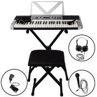 Sawtooth 54 Key Portable Piano Keyboard with Stand, Bench, Headphoness, Microphones, Adapter, 50 Preset Songs, 160 sounds & Built in Metronome