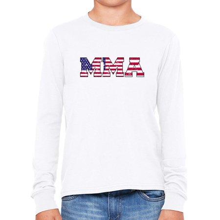 MMA - Mixed Martial Arts with USA Flag Overlay Boy's Long Sleeve T-Shirt