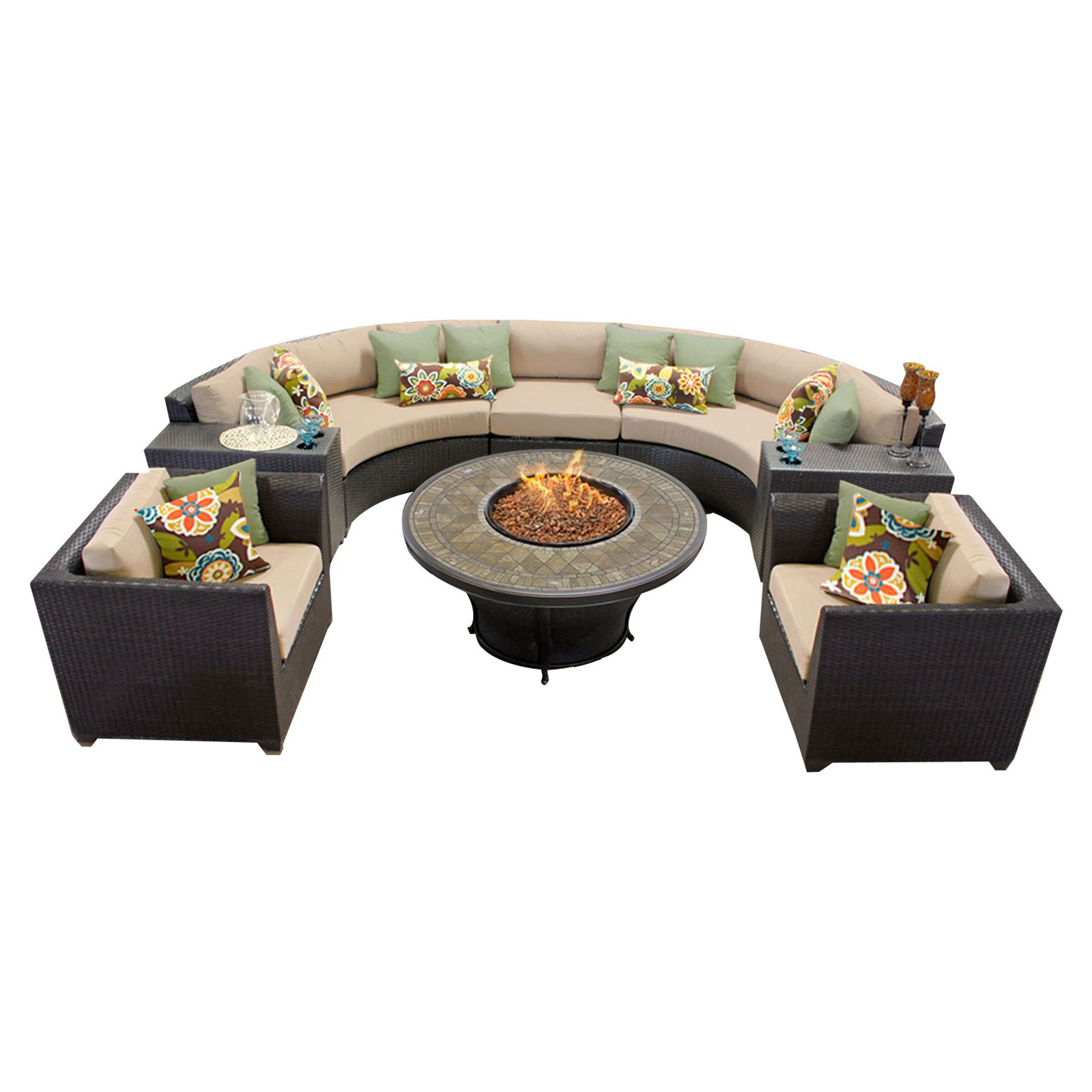 TK Classics Barbados Wicker 8 Piece Patio Conversation Set with Fire Pit Table