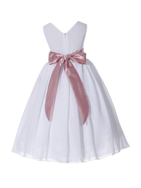 c73073f8cd7 Free shipping. Product Image Ekidsbridal White V-Neck Yoryu Chiffon Flower  Girl Dress Formal Bridesmaid Wedding Pageant Toddler Easter