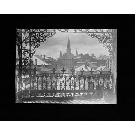 1920 Photo vista through iron lace, New Orleans vintage black & white photo 67 (1920 Photograph)