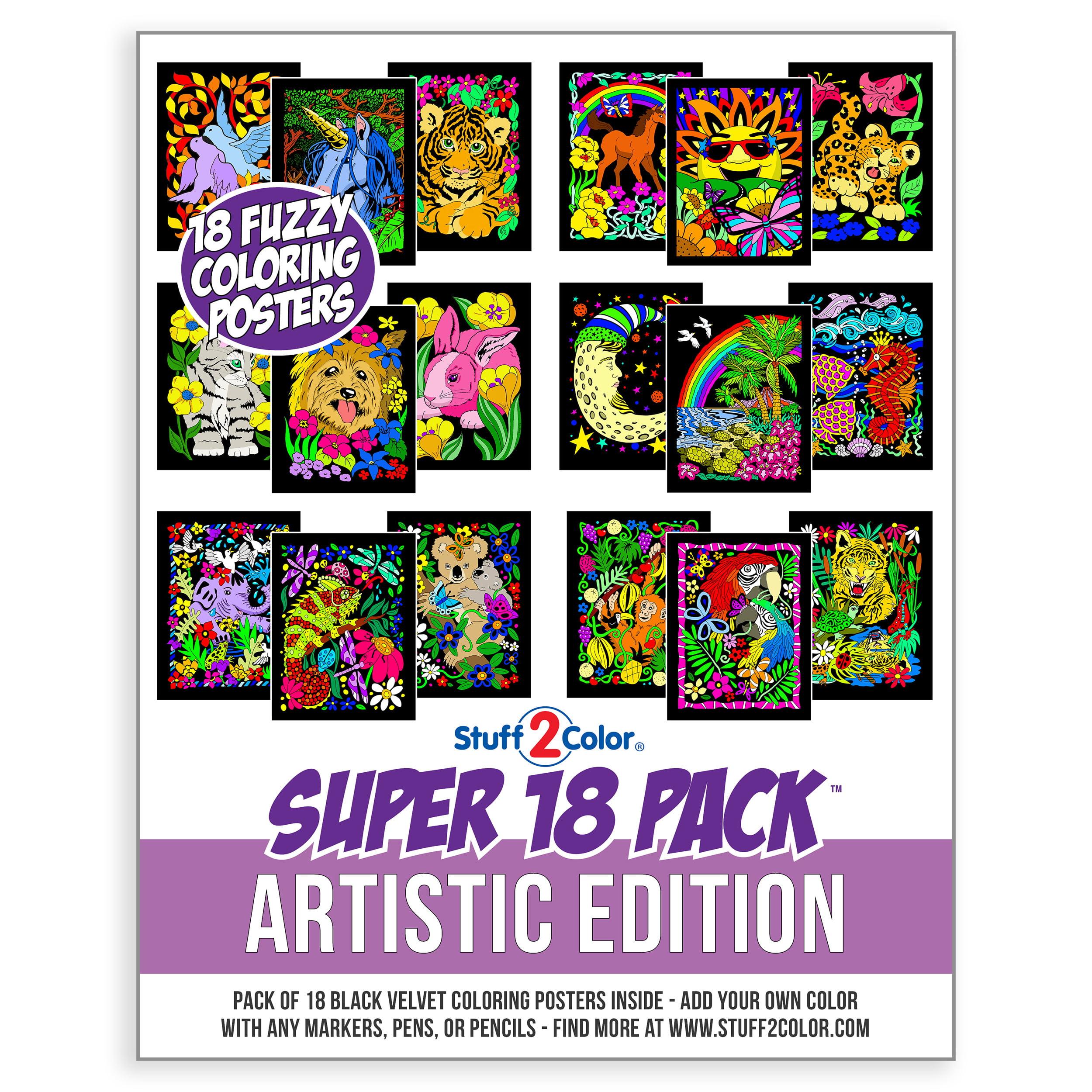 Super Pack Of 18 Fuzzy Velvet Coloring Posters (Artistic Edition) -  Stuff2Color - Walmart.com - Walmart.com