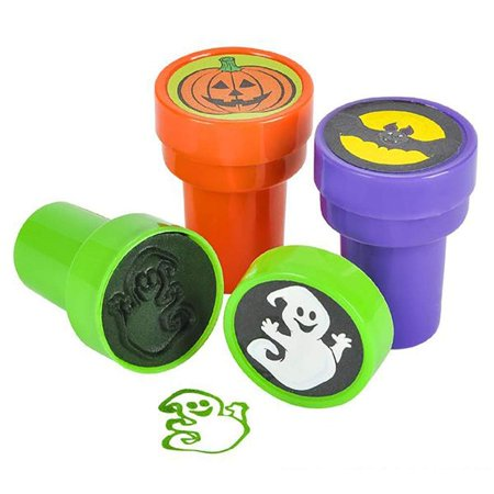 Halloween Promotional Giveaways (Halloween Stampers - Pack of 24 Pre-Inked Stamping Tool for Kids - Assorted Spooky Design Prints (Pumpkin, Bat, Ghost)- Perfect for Letters, Scrapbooks, DIY Activities, Decorations and Party)