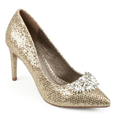Brinley Co. Women's Faux Leather Jewel Pointed Toe Glitter (Women's Silver Glitter Clear Heels)