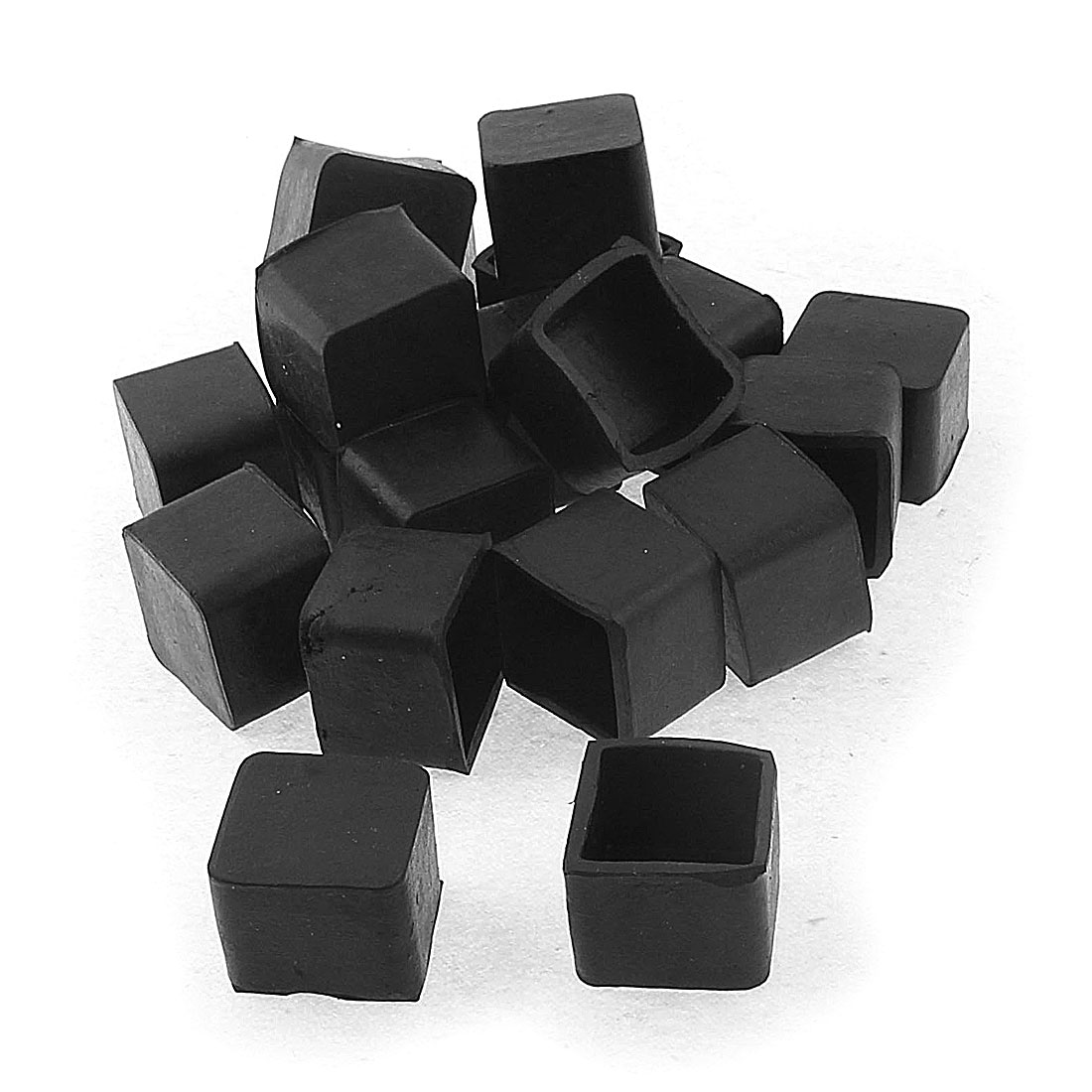 20mm x 20mm Square Shape Furniture Table Desk Foot Leg End Cap Cover Black 20pcs