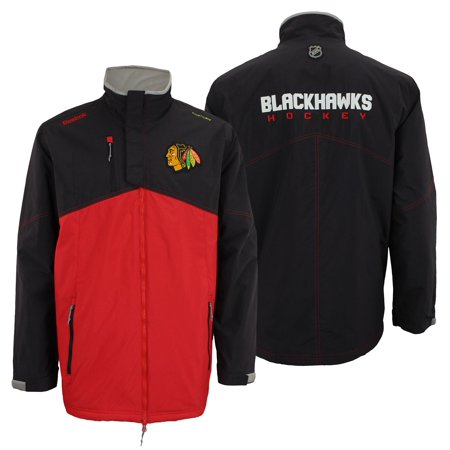 Reebok NHL Hockey Mens Chicago Blackhawks Kinetic Fit Full Zip Premium Midweight Jacket, Black
