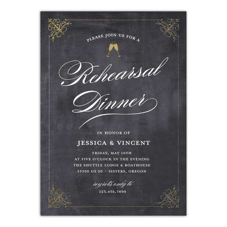Personalized Wedding Rehearsal Dinner Invitation - Classic Rehearsal - 5 x 7 Flat Destination Rehearsal Dinner Invitations