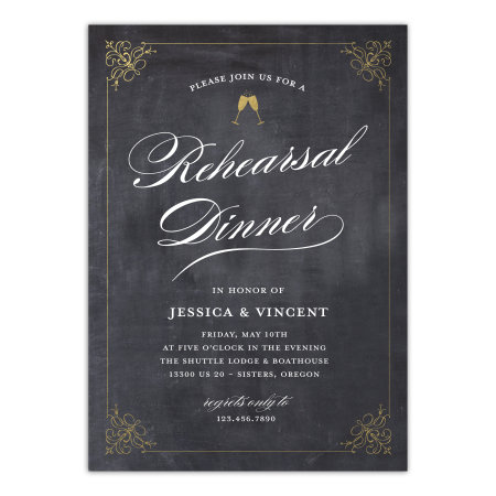 Personalized Wedding Rehearsal Dinner Invitation - Classic Rehearsal - 5 x 7 Flat