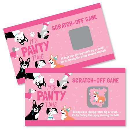 Pawty Like a Puppy Girl - Pink Dog Baby Shower or Birthday Party Game Scratch Off Cards - 22 Count ()