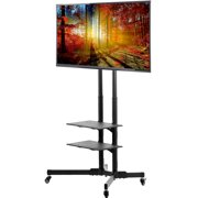 """VIVO TV Cart for LCD LED Plasma Flat Panels Stand with Wheels Mobile fits 37"""" to 70"""" (STAND-TV01B)"""