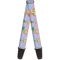 """Tinker Bell Poses Purple Pink Fade Guitar Strap  2.0"""" Wide"""