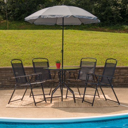Lancaster Home Nantucket 6 Piece Patio Garden Set with Table, Umbrella and 4 Folding Chairs Black ()