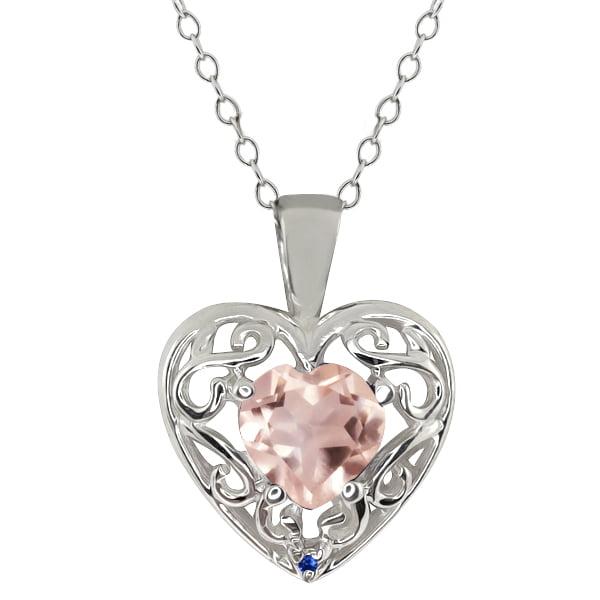 0.71 Ct Heart Shape Rose Rose Quartz Blue Sapphire Sterling Silver Pendant