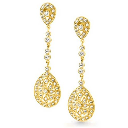 Deco Style Bridal Teardrop Cubic Zirconia Filigree Statement Prom Chandelier Earrings Silver Plated Gold Plated