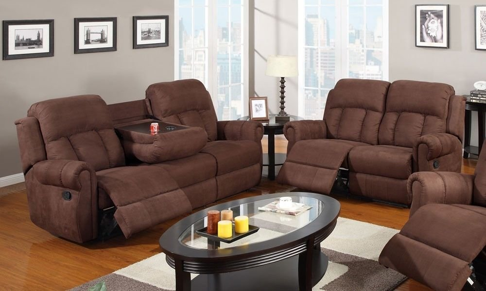 Simple Relax 1PerfectChoice 2 PCS Modern Recliner Sofa With Cup Holder Couch  Recline Loveseat Brown Microfiber