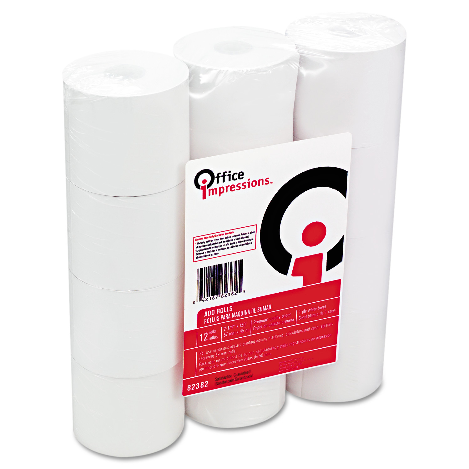 "Office Impressions Calculator Rolls, 16 lbs., 2-1/4"" x 150 ft, White, 12/Pack"