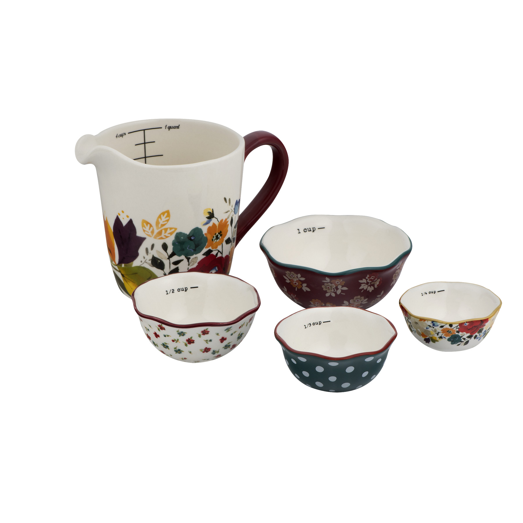 Autum Harvest Measuring Cup and Bowls Set New Pioneer Woman 5 Pc