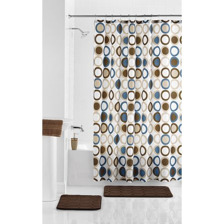 Mainstays Duncan 15-Piece Shower Curtain Bath Set