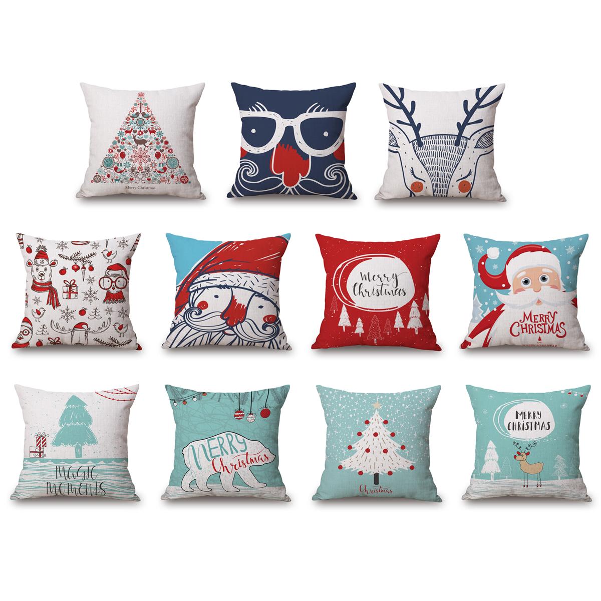 A Cushion Cover Snowman // Elk // Santa Waist Throw Pillow Cover Janly/® 4PC Merry Christmas Decorative Pillowcases 18x18