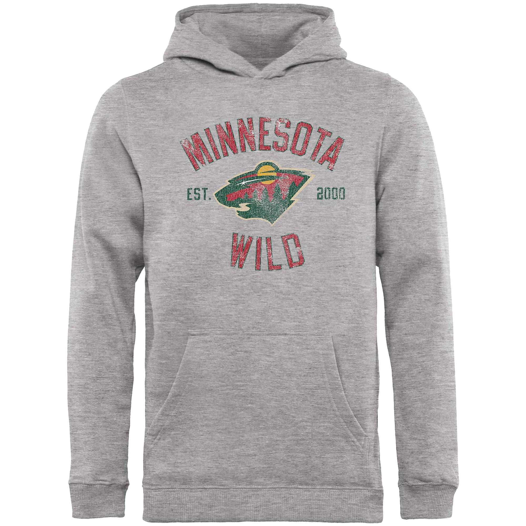 Minnesota Wild Fanatics Branded Youth Heritage Pullover Hoodie - Gray